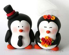 Gestalte Pinguin Hochzeitstorte Topper von fliepsiebieps auf Etsy