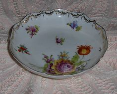 Vtg Porcelain Floral Jewelry Plate Pin Dish Saucer Marked German Manufacture