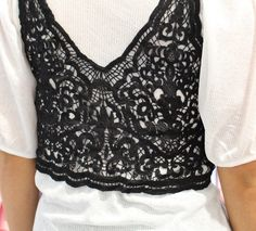 Vero Moda White Ribbed Puffball Sleeve Top With A Black Crochet Bralet Over The Top. Cute Crop Tops, Bandeau Top, Off The Shoulder, Crochet Top, Tees, Shirts, Lace, Sleeve, How To Wear