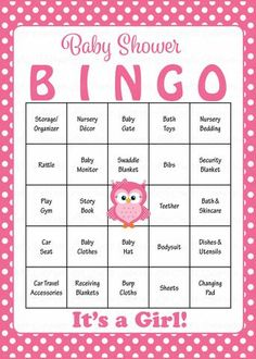 Owl Baby Bingo Cards - Printable Download - Prefilled - Baby Shower Game for Girl - Pink Polka