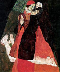 Egon Schiele - Cardinal and Nun (1912)