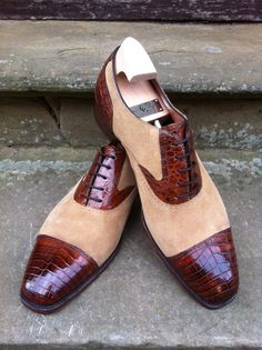 St Ives in Cedar Alligator and Sandstone Suede - MH71