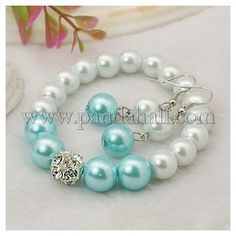 Fashion Glass Pearl Jewelry Sets: Earrings and Stretchy Bracelets SJEW-JS00274-04-1