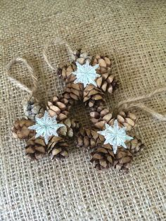 Mini Pine Cone Wreath Ornaments Gift Topper by RedbirdCountryDecor Pine Cone Art, Pine Cone Crafts, Pine Cones, Farmhouse Christmas Ornaments, Christmas Crafts For Gifts, Holiday Ornaments, Pine Cone Decorations, Snowflake Decorations, Christmas Decorations