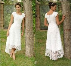 Vintage Hi-Lo Boho Lace Wedding Dresses Country Bridal Gowns Beach Size Custom