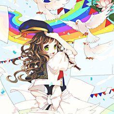 Anime girl, , brown hair, , green eyes, , rainbow, , doves, , paper