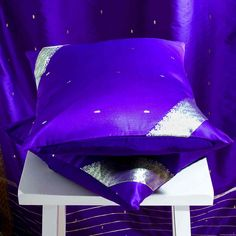 Purple -  Set Of 2  Decorative Handcrafted Sari Cushion Cover  Throw Pillow Case 18 X 18