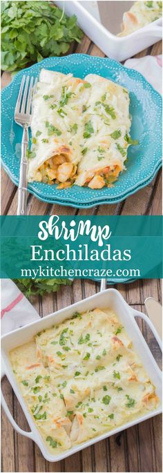 Shrimp Enchiladas - My Kitchen Craze Shrimp Enchiladas ~ Filled with tender, flavorful shrimp then topped with a delicious homemade creamy sauce. You're going to love these enchiladas! Fish Recipes, Seafood Recipes, Mexican Food Recipes, Cooking Recipes, Healthy Recipes, Mexican Entrees, Alkaline Recipes, Korean Recipes, Mexican Cooking