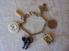 Vintage Charms Bracelet Charmed Vintage SUPERSTITIOUS by Margolinn, $32.00