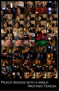 """From what I've read, some people don't like the Ninth Doctor because they think he's too """"bitter and angry"""" all the time.  So, to set the record straight, I give you this. Ninth Doctor grins- not including the little smiles and smirks that happen too fast for a screencap- from just the first three episodes.  Out of thirteen.  You may draw your own conclusions."""