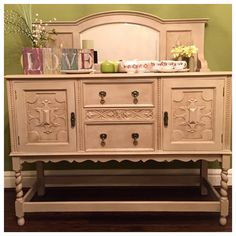 Lovely antique mirrored sideboard beautifully refurbished and handpainted by theshabbychiclook-uk. Find us on Facebook and Instagram.
