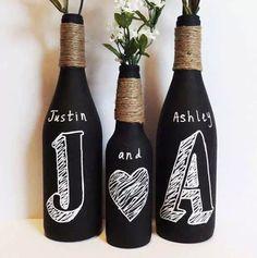 Botellas con pintura de pizarron