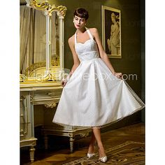 [USD $ 87.59] A-line Princess Halter Tea-length Tulle Wedding Dress (710780)