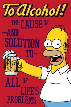 Homer Simpson To Alcohol 1998 Simpsons TV Show Poster The Simpsons Movie, Simpsons Art, Los Simsons, Beer Cartoon, Just Give Up, Life Problems, Original Movie Posters, Vintage Movies, Vintage Posters