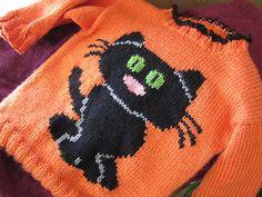 Ravelry: Child's Cat Sweater pattern by Eileen Casey.  free pattern