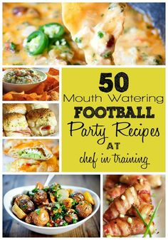 50 Mouth-Watering Football Party Recipes Try one of the 50 recipes and enjoy whether it for a football party or not.Serve it to a group over movies or simply a get together.