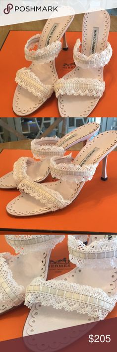 Manolo Blahnik Heels Manolo Blahnik delicate baby pink crochet and lace open toe slides, 3 1/2 in heel Manolo Blahnik Shoes Heels