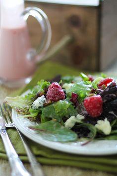 Raspberry Pistachio Salad with Creamy Raspberry Vinaigrette   http://www.theroastedroot.net