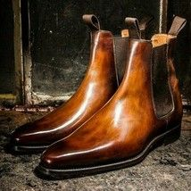 Two Tone Chelsea Brown High Ankle Jumper Slip On Genuine Leather Boots US 7-16 - Dress/Formal