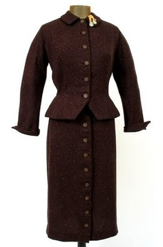 1940's Hourglass Dark Brown Tweed Wool Flecked Suit w Gold Ribbon & Rhinestone Details