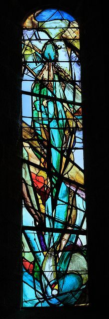 stained glass in the chapel on the citadel of Sisteron