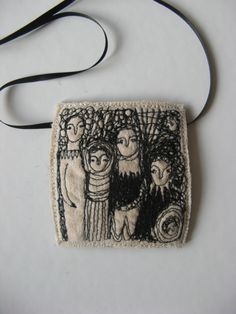 embroidered pendant - Cathy Cullis