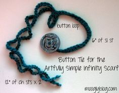 Make a button tie for your scarf or cowl and change the look in minutes! Free pattern on mooglyblog.com