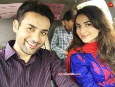 Affan Waheed & Yumna Zaidi during the shoot of drama serial Guzaarish. #ARY