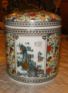 Chinese Porcelain Ceramic Hand Painted Large Jar With Lid