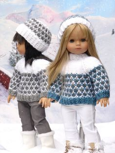 Olympia, PDF Doll Clothes a faux fair isle sweater and ski hat knitting pattern for American Girl Dolls by Debonair Designs