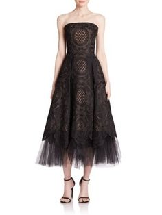 Marchesa Notte - Strapless Organza Lace & Tulle Dress