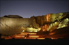 Nighttime view of the Egyptian tomb of Queen Hatshepsut