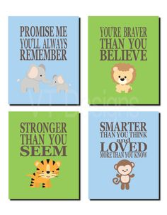 Jungle Animal Nursery, Promise Me You'll Always Remember, Safari Animal Nursery, Kids Wall Art, Jungle Animals, Set of 4, Prints or Canvas by vtdesigns on Etsy