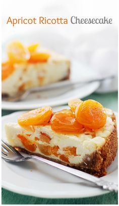 Apricot Ricotta Cheesecake | www.diethood.com |This light and fluffy Ricotta Cheesecake is sweetened with honey and packed with delicious chunks of apricots. | #recipe #cheesecake