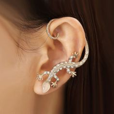 Fashion Exquisite Crystal Gecko With Opal Head Alloy Gold Plated Women's Single Cuff for Left Ear - USD $29.95
