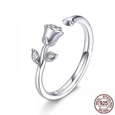 Woman 925 Sterling Silver Thorns And Rose Ring $ 13.96 & FREE Shipping #jewelrynothers #jewelryaddict #jewelryartist Sterling Silver Wedding Rings, Sterling Silver Flowers, Silver Rings, Rose En Argent, Color Plata, 139, Delicate Rings, Argent Sterling, Plaque
