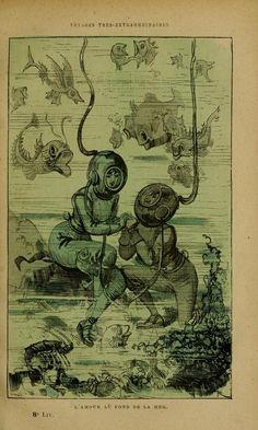 Love at the bottom of the sea Steampunk, Vintage Comics, Vintage Art, Albert Robida, Vintage Magazine, Leagues Under The Sea, Mermaids And Mermen, Fairytale Art, Science Fiction Art