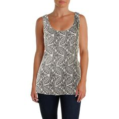 """Theory Womens Akena Printed Sleeveless Casual Top B/W L. An intricate print embellishes this airy tank, finished with twisted back straps. Scoopneck. Sleeveless. Twisted back straps that gently knot in the center. Pullover style. Allover print. About 29"""" from shoulder to hem. 100% silk. Original Retail of $190.00."""