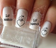 Nail Art Wedding Just Married Nail Water Decals Transfers Wraps