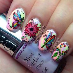 Instagram photo by  stylish_mom Butterfly Nail Designs, Nail Art Designs, Get Nails, Love Nails, Super Cute Nails, Nails For Kids, Party Nails, Beautiful Nail Art, Spring Nails