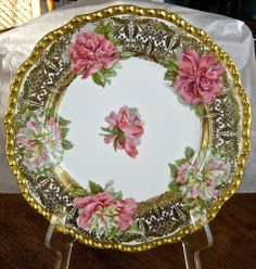 ANTIQUE LIMOGES PORCELAIN PLATE CHARGER HAND PAINTED PEONIES J JEAN POUYAT GOLD