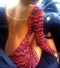 Backless Sexy Mini Robe moulante Colorful Chevron Imprimé pour les femmes