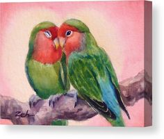 Love birds art print lovebirds watercolor Valentines day bird wall decor by Janet Zeh Original Art Watercolor Bird, Watercolor Paintings, Tattoo Mama, Love Birds Painting, Love Birds Drawing, Drawing Animals, Aquarell Tattoo, Easy Paintings, Oil Paintings