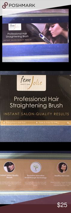 Hair brush straightener Hair brush straightens your hair while brushing your hair with heat for the perfect straight hair. I bought this and used it one time. My hair is super super thick so it doesn't do what I need on my hair. Other