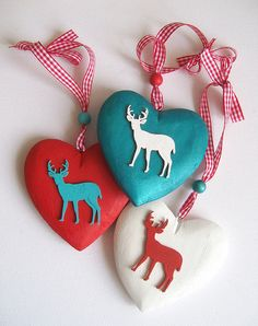 Reindeer Hearts - hand-painted Christmas hearts by art angel 1, via Flickr
