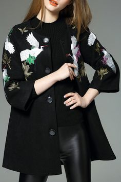Crane Embroidered Wool Blend Coat