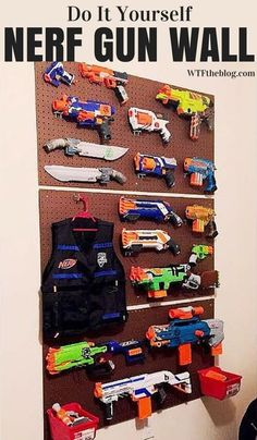 The easiest Nerf gun storage wall for under $50. This is sure to be every kid's favorite spot in the house! No more Nerf darts and guns lying everywhere.