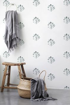 Boho decal Leaves wallpaper Removable wallpaper Watercolor