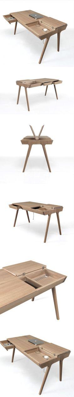 METIS: A Solid Wood Desk with Plenty of Storage #desk #Wood #design