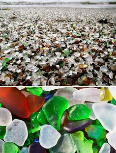 """Glass beach in California. Now I can """"walk on glass"""" and cross it off my 'Things I'll probably never do' list. It's the opposite of a bucket list, in that it's more realistic."""
